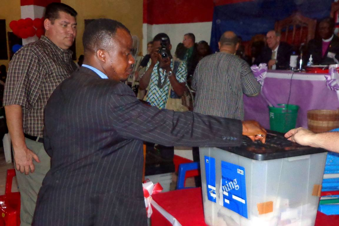 Rev. David Tokpah casts his ballot at the United Methodist Church Liberia nomination process for candidates for election for bishop. Photo by Julu Swen, United Methodist Communications.