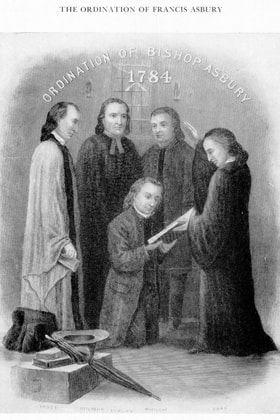 Philip William Otterbein (2nd from left) participated in the ordination of Francis Asbury. Image courtesy United Methodist Archives and History.