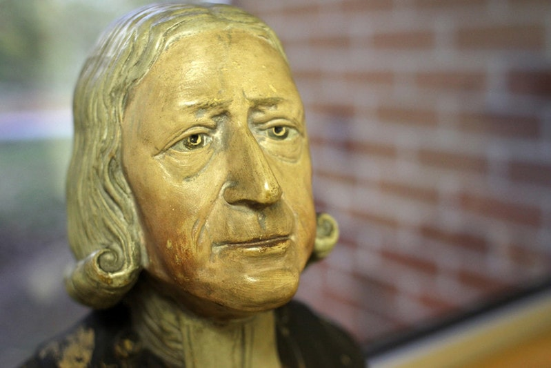 The Enoch Wood  bust  of the Rev. John Wesley (1703-1791) one of several copies in the Ezra Squier Tipple Collection of Drew University, Madison, New Jersey.  Wesley sat for Enoch Wood (1759-1840), the noted Staffordshire potter, at Burslem in 1784 at the age of 81. Courtesy of the General Commission on Archives and History of the United Methodist Church. Photo by Kathleen Barry, UM News.