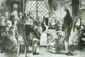 The devotion times Susanna Wesley initially led for her family soon included many members of the congregation. Photo illustration courtesy of General Commission on Archives and History.