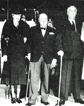 First Lady Eleanor Roosevelt, Winston Churchill and President Franklin D. Roosevelt prepare to leave the White House for Christmas services at Foundry Methodist Church in this 1941 photo. Photo courtesy of Foundry United Methodist Church/Acme Photos.