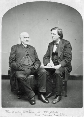 Henry Boehm (left) was photographed at 100 years old with Thomas Carlton, director of the Methodist Publishing House. Photo courtesy United Methodist Archives and History.