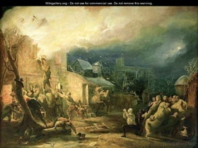"""The Rescue of John Wesley from the Epworth Rectory Fire, 1840"" oil on canvas. Image courtesy WikiGallery.org."