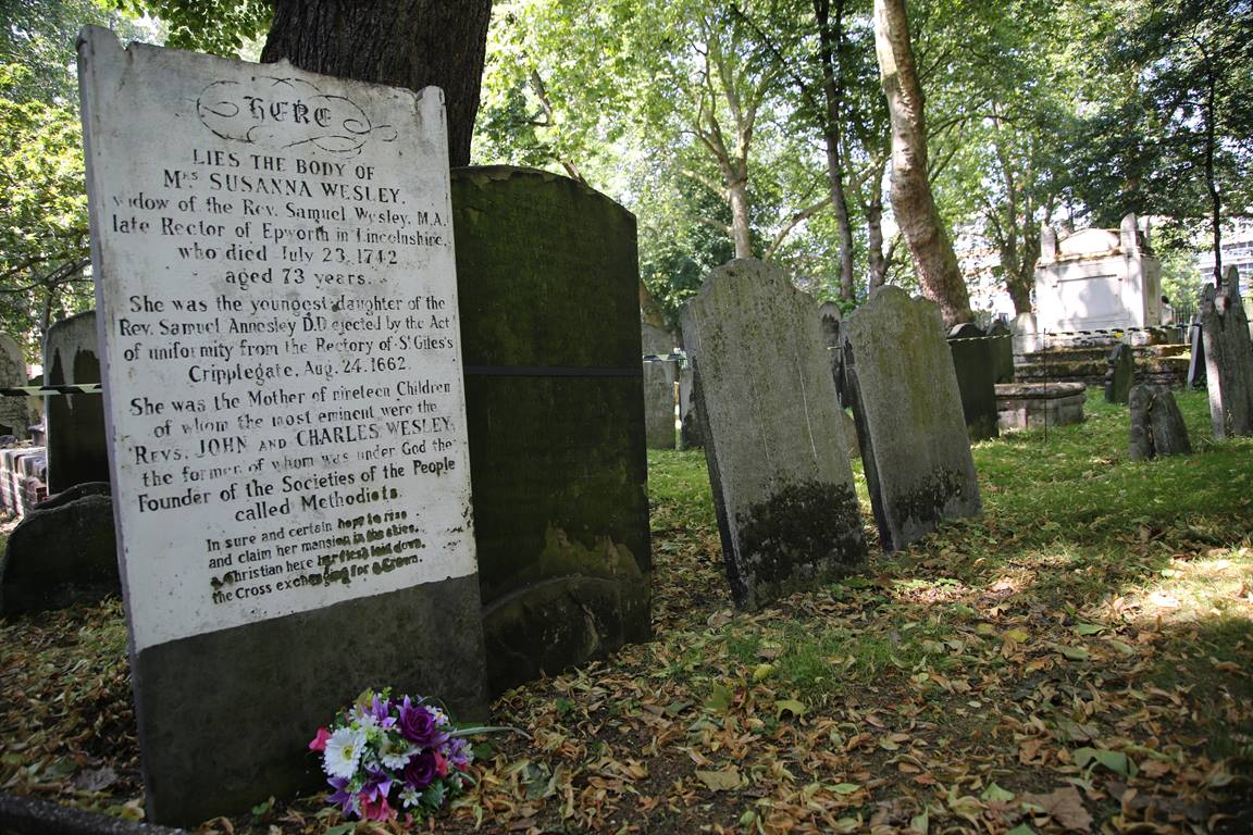 Gravestone of Susanna Wesley at the Dissenter's Cemetery across from Wesley Chapel, London, UK.