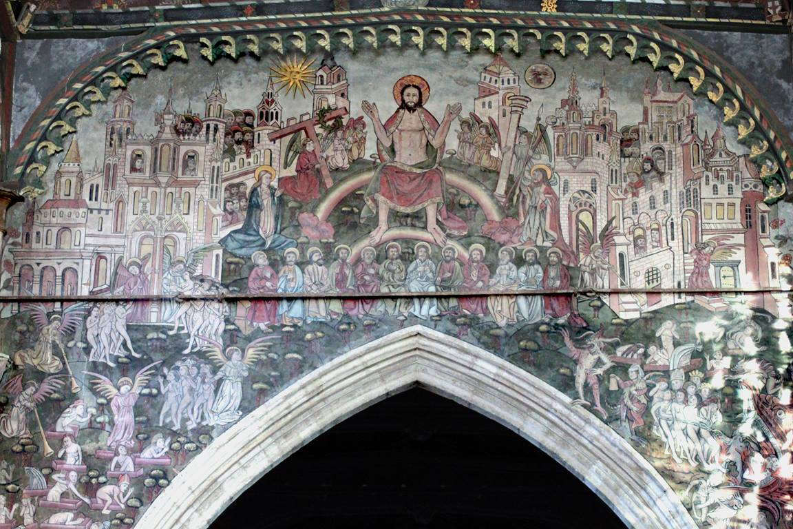 """A medieval painting of the """"Doom"""" or Last Judgment in St. Thomas Church, Salisbury, England. Photo by Nessino, courtesy of Wikimedia Commons."""