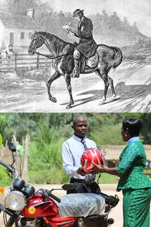 The first circuit riders traveled on horseback. United Methodist pastors today sometimes ride motorcycles. Top image courtesy of the United Methoidst General Commission on Archives and History. Lower photo by E Julu Swen, United Methodist Communications.
