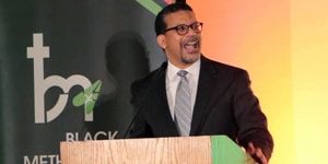 """The Rev. Antoine """"Tony"""" Love, vice chairman of the Black Methodists for Church Renewal, delivers a keynote address during the opening plenary session of the March 14-17 BMCR meeting in Sacramento, California. Photo courtesy of the Rev. Love."""