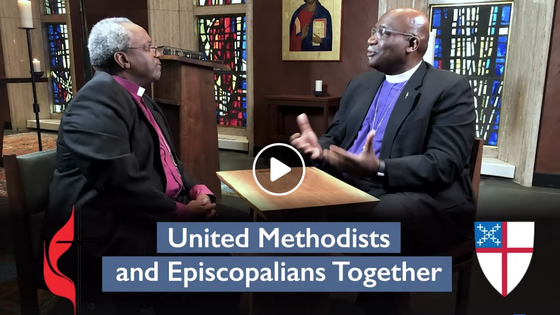 Bishop Gregory Palmer (co-chair of the dialogue committee) and Presiding Bishop of the Episcopal Church Michael Curry discuss full communion between the two denominations. Image courtesy of the Council of Bishops of The United Methodist Church.