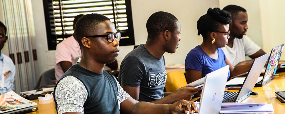 """Participants' in an intense four-day workshop called """"Young Creatives"""" that brought together the country's best programmers in order to sharpen their programming and coding skills to develop working mobile applications that will help solve some of the continent's major challenges."""