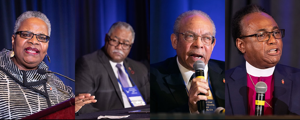 Bishops LaTrelle Easterling, Julius C. Trimble, Johnathan D. Keaton and James R. King sit on a panel to discuss issues that happened at GC2019.