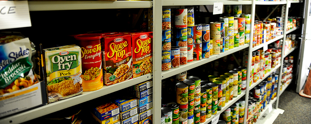 Food pantry items on shelves. Courtesy photo.