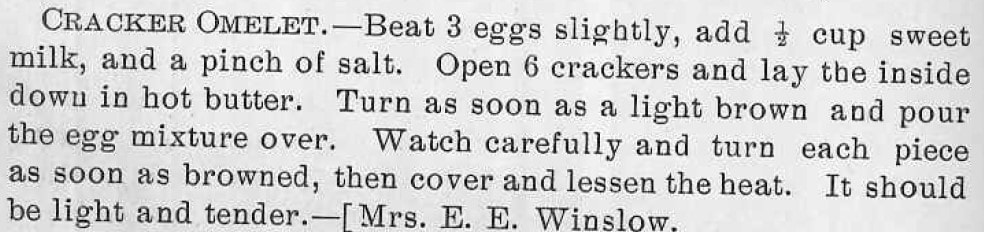 Cracker Omelet recipe from The Ware Cookbook p. 68
