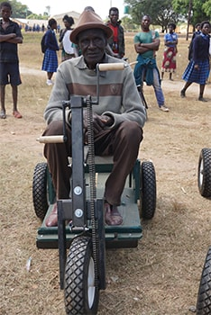 This recipient of a new PET in Lufwanyama, Zambia, in June 2019, was recommended to PET Zambia by a government partner that coordinates services for people with disabilities across the country.