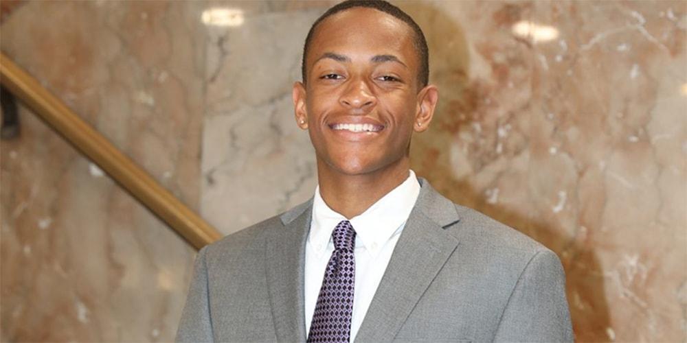 Student Langston Carter-Price stops to take a photo on stairway at Dillard University. Courtesy photo.