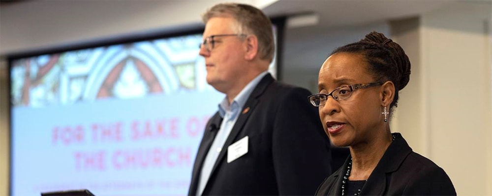 Bishop Christian Alsted and The Rev. Kennetha Bigham-Tsai direct the Connectional Table's discussion about the special session of General Conference, held at Discipleship Ministries in Nashville, Tenn., April 3.