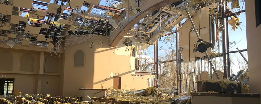 The sanctuary of Lynn Haven United Methodist Church in Panama City, Fla., stands open to the sky following Hurricane Michael in October 2018.