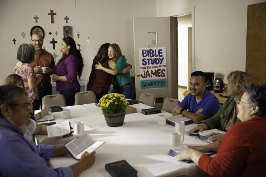 James Bible Study Diverse Welcome Hospitality Hug