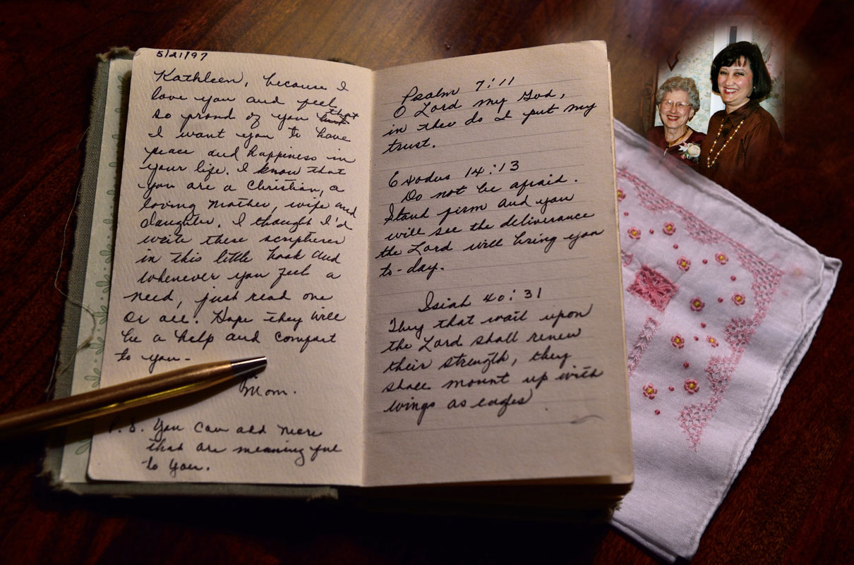 This journal with handwritten scriptures of encouragement has tremendous value to Kathleen King. Photo courtesy of Kathleen King.