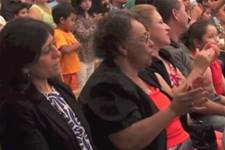 Members attend a meeting of MARCHA, the Hispanic/Latino caucus within The United Methodist Church. Video image by United Methodist Communications.