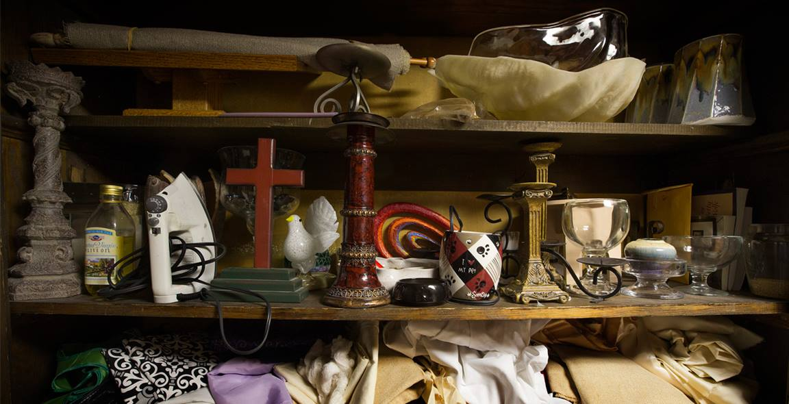 Clutter can build up in our church closets and in our lives. A photo illustration by Mike DuBose, United Methodist Communications.