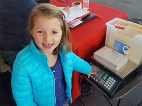 Six-year-old Ronyn Kelley collected items for her local food bank instead of birthday gifts. Photo courtesy of the Kelley family.