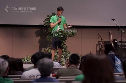 A man speaks at the NEXUS workshop for Korean American United Methodists in Detroit