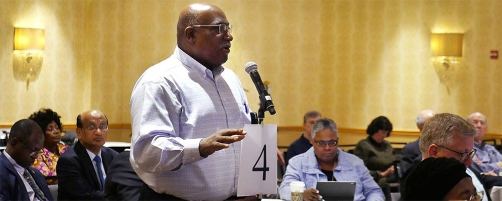 Bishop Gregory V. Palmer urges fellow bishops to support asking General Conference to approve full communion with the Episcopal Church. Palmer, who leads the West Ohio Conference, is co-chair of the United Methodist-Episcopal dialogue committee. Photo by Heather Hahn, UMNS.
