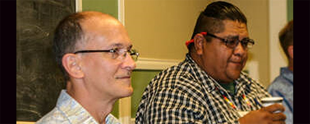 """Jorge Dominques (left) executive director of Connectional Ministries in the California-Nevada Annual Conference of The United Methodist Church and Nathan Whistler from Surz United Methodist Church participate in """"Healing the Circle"""" retreat. Courtesy photo."""