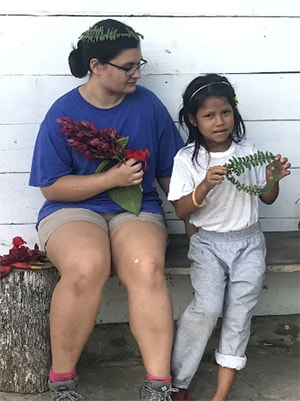 Lauren Rhodes with unknown child during mission to Ecuador. Courtesy photo.