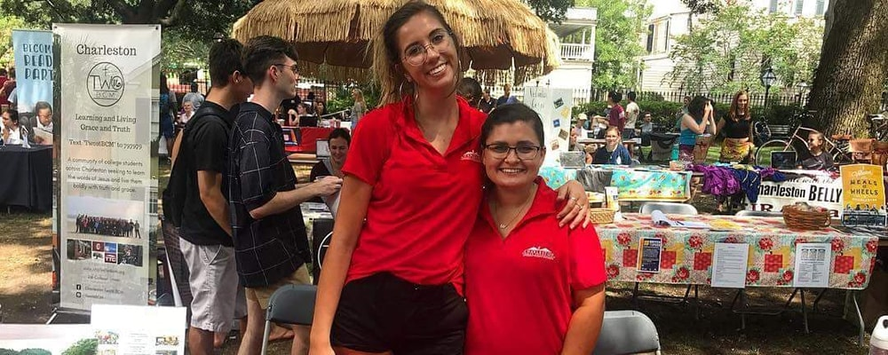 Lauren Rhodes (right) poses with fellow student at a college event. Courtesy photo.