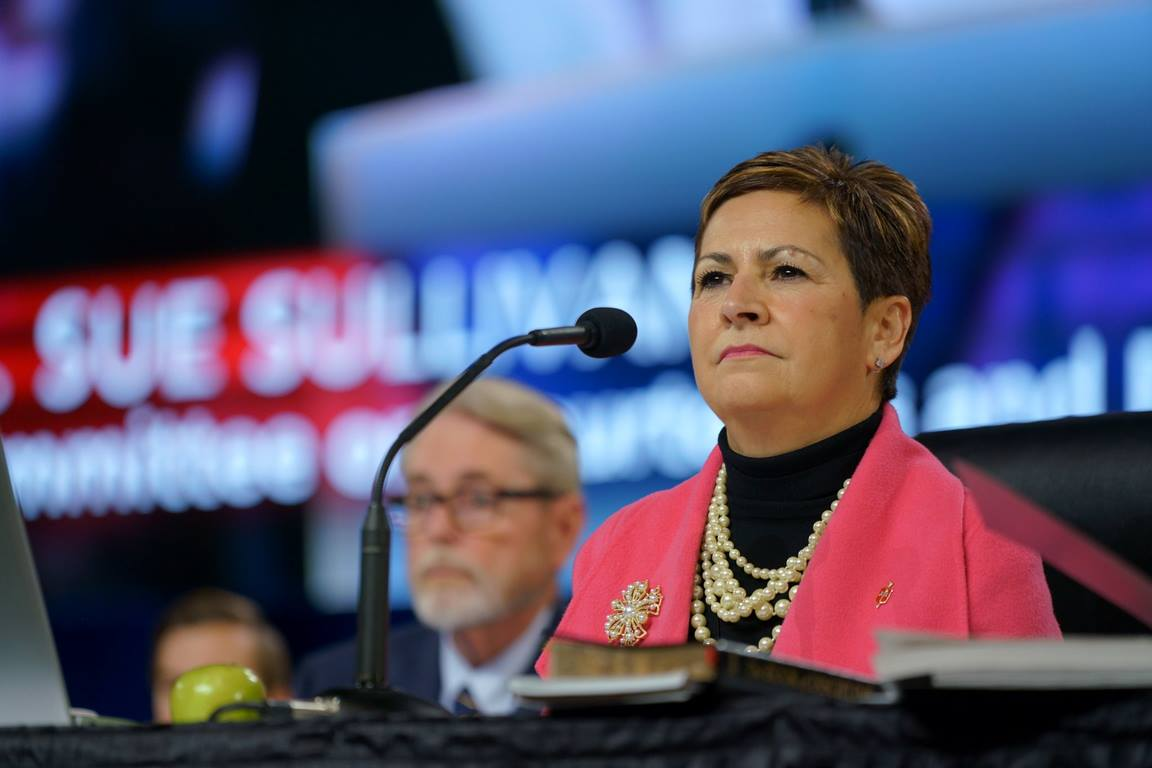 Bishop Cynthia Fierro Harvey, seen here presiding at the 2019 Special Session of General Conference in St. Louis, Missouri, in February, has been elected as president of the Council of Bishop of The United Methodist Church. Council of Bishops file photo.