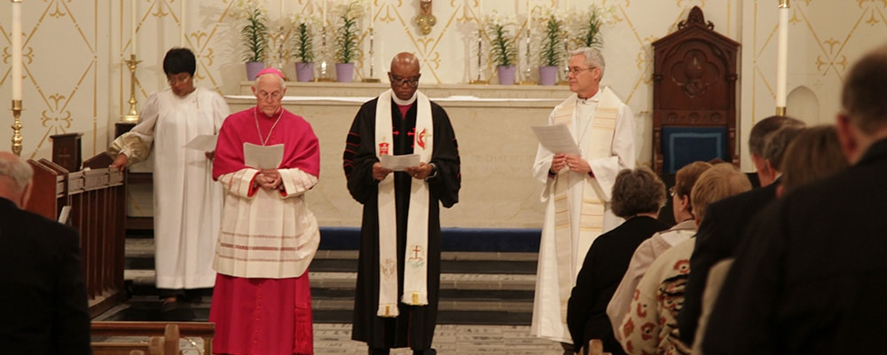 Bishop W. Earl Bledsoe represents The United Methodist Church in an ecumenical service during the opening of the National Christian Workshop on Christian Unity in Albuquerque, New Mexico, April 28, 2014. The focus of the 50th anniversary is on building ecumenical relationships for peace and justice