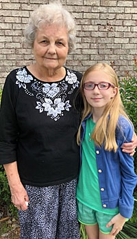 Delores Howell (left) calls nine-year-old Haleigh her angel after suffering a fall. Haleigh comforted Delores, cleaned her
