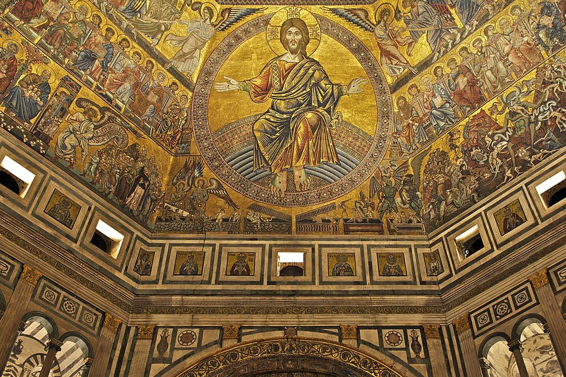 """Detail of the Baptistery of St. John, Florence, Italy, showing vaults and mosaics, including """"Christ in Majesty"""" above the hand altar, 13th and 14th centuries. Photo by Jebulon, courtesy of Wikimedia Commons."""