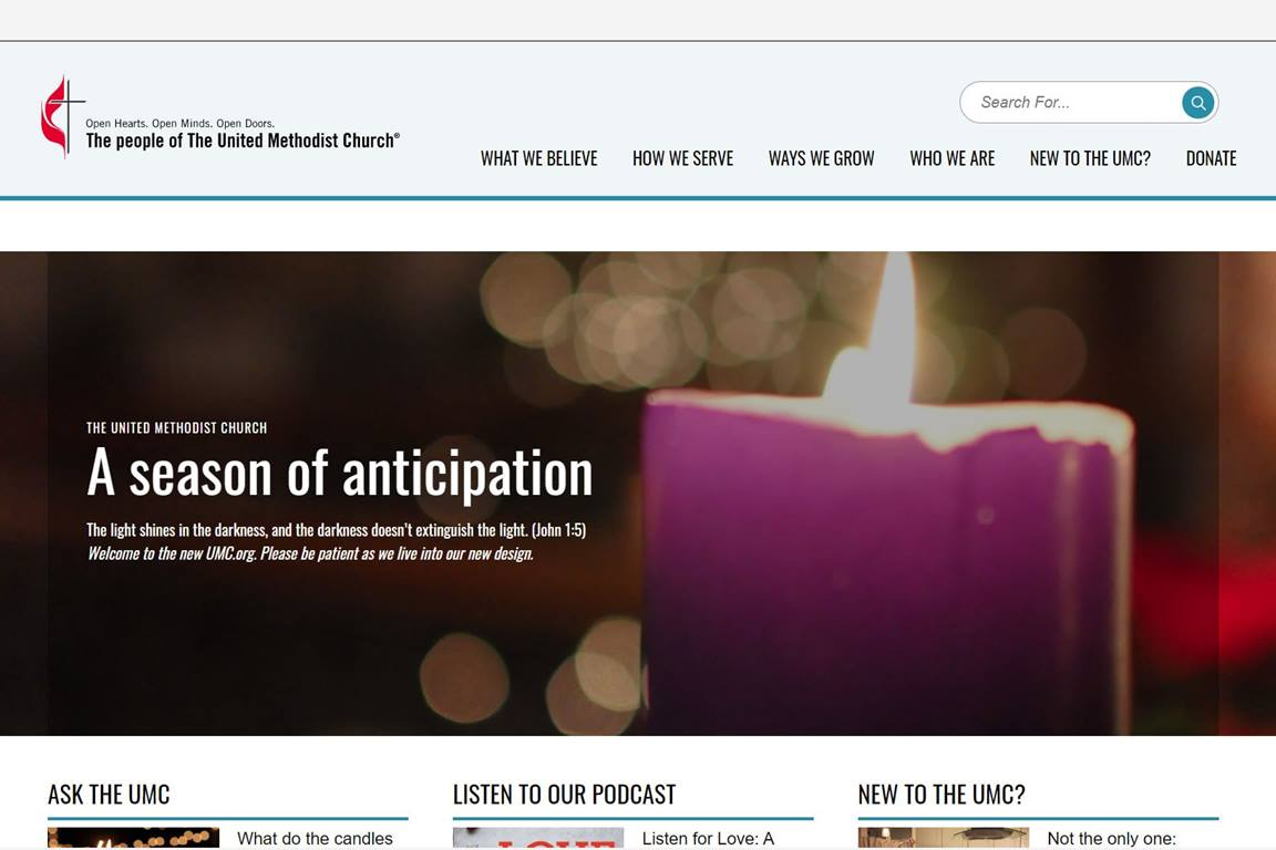 The newly redesigned UMC.org homepage