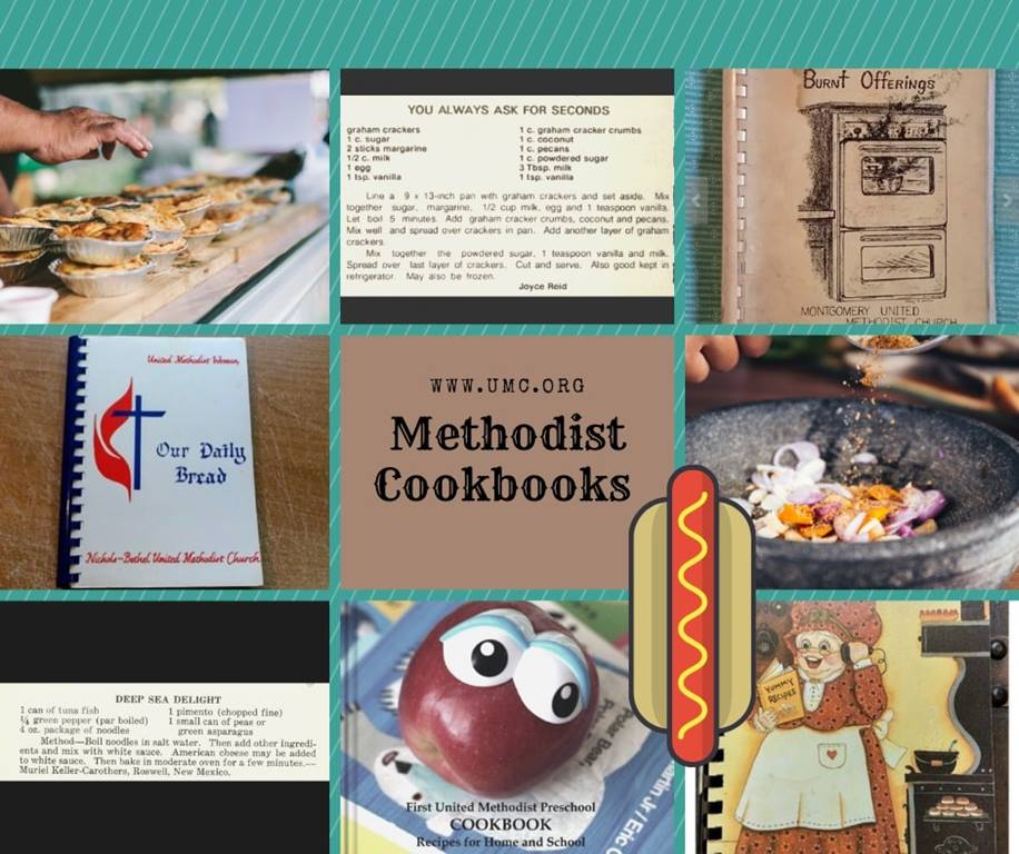 A montage of vintage Methodist cookbooks showcases over 100 years of recipes.