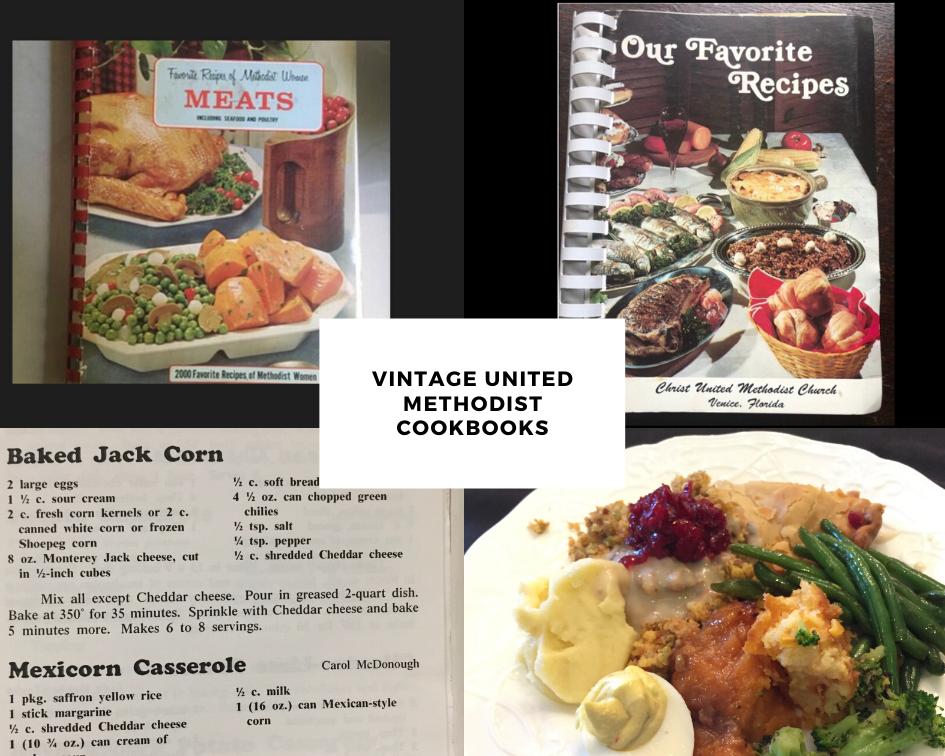Vintage Methodist cookbooks feature favorite recipes.