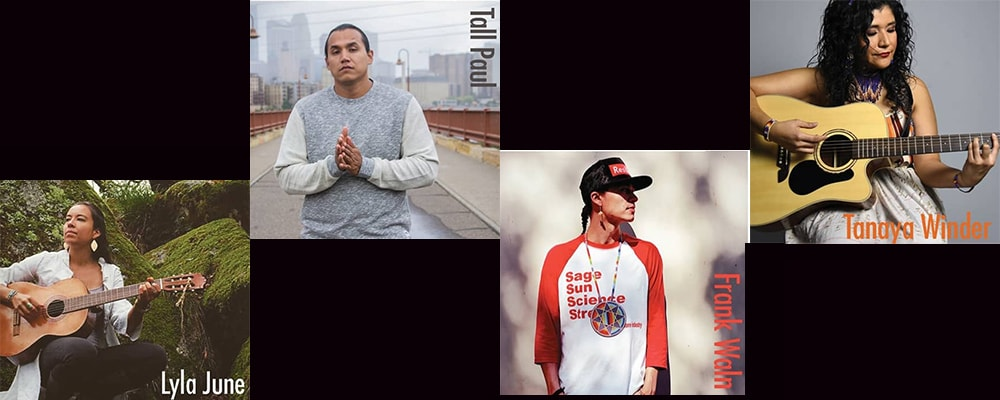 "Dream Warriors artists involved in the ""Heal It"" project: Frank Waln, a Sicangu Lakota hip-hop artist, producer and performer from the Rosebud Reservation in South Dakota; Tall Paul, an Anishinaabe and Oneida hip-hop artist enrolled on the Leech Lake reservation in Minnesota; Lyla June, poet, hip-hop artist and acoustic singer-songwriter of Diné (Navajo) and Tsétsêhéstâhese. Photo credit: Brian Skeet."