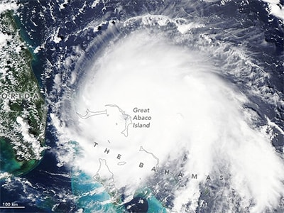A NASA satellite image captures Hurricane Dorian over the Bahamas on Sept. 1, as the powerful Category 5 storm was directly over Great Abaco Island. Dorian became the strongest hurricane on record in the northwestern Bahamas. NASA Earth Observatory image by Lauren Dauphin, using MODIS data from NASA EOSDIS/LANCE and GIBS/Worldview.