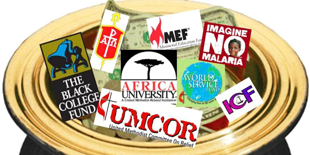 Image of plate with ministries and money inside. Photo credit: Central Texas Annual Conference website.