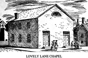 The Christmas Conference at Lovely Lane Chapel in Baltimore, Maryland, began on Christmas Eve 1784. Image courtesy United Methodist General Commission on Archives and History.