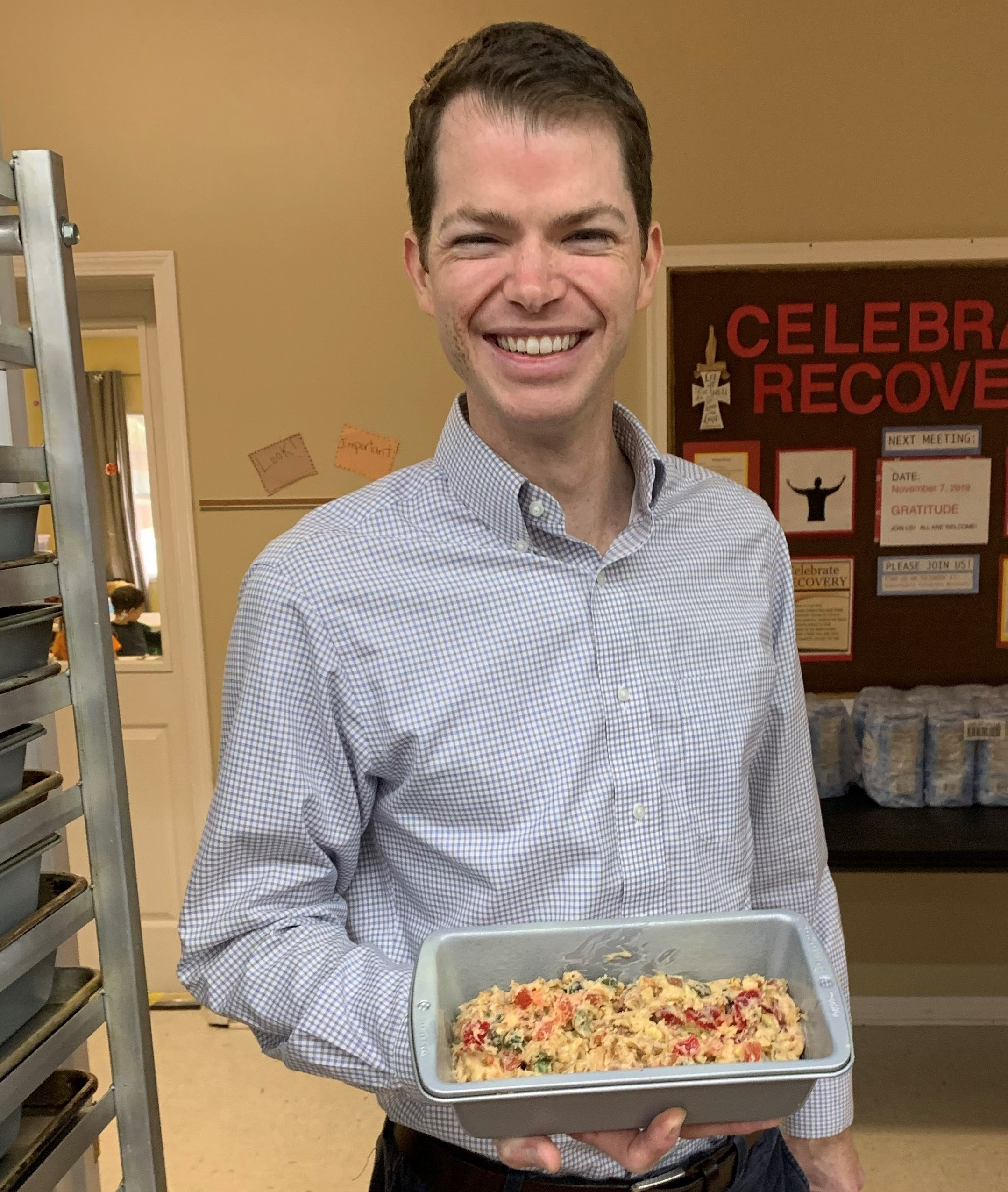 The Rev. Jonathan Hart of Robertsdale United Methodist Church in Alabama prepares to bake his fruitcake.