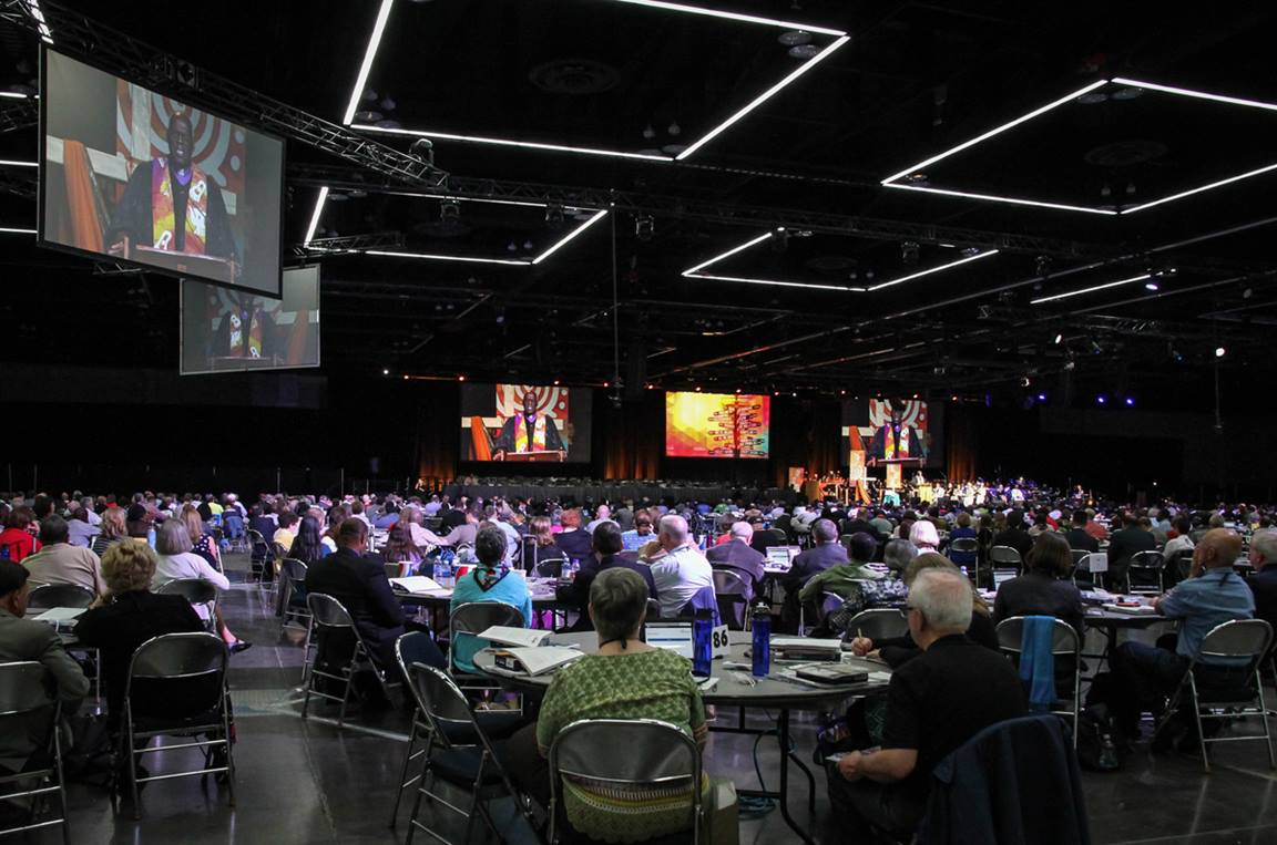 Bishop Warner H. Brown preaches at the opening worship for the United Methodist 2016 General Conference in Portland, Ore. File photo by Maile Bradfield, UM News.