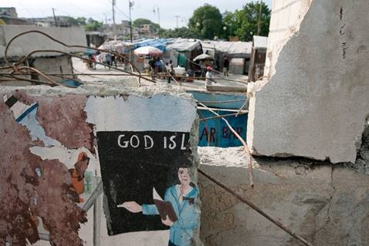 A shattered wall at St. Martin Methodist Church in Port-au-Prince, Haiti, Earthquake 2010