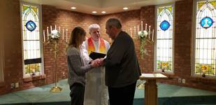 Marriage renewal service at First UMC in Columbus, Indiana. The Rev. Howard Boles officiating. Courtesy of First UMC. 2019
