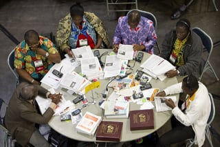 Every annual conference sends a delegation to General Conference. Pray for your delegates by name. File photo of 2012 delegates from Cote d'Ivoire by Mike DuBose, United Methodist Communications.