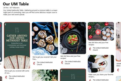 Screenshot of Our UM Table board on Pinterest.