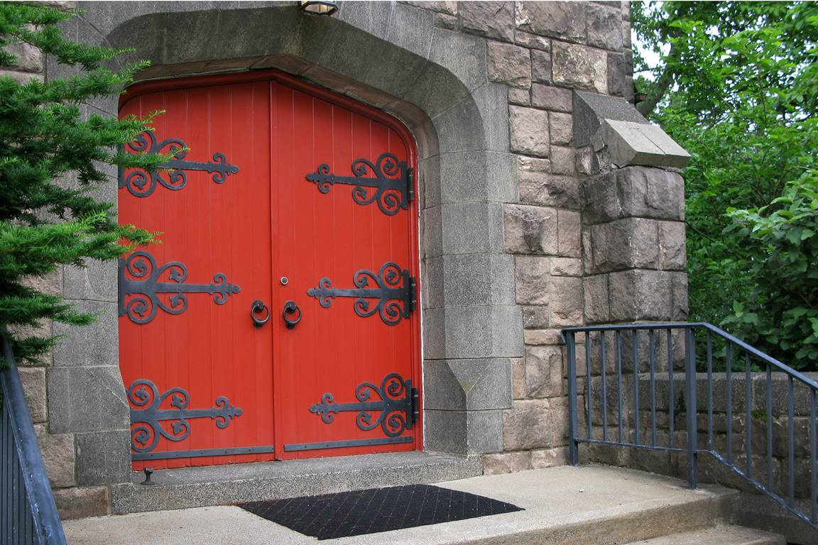 Red doors at Alcola United Methodist Church in Paramus, New Jersey. Photo by Jan Snider, United Methodist Communications.