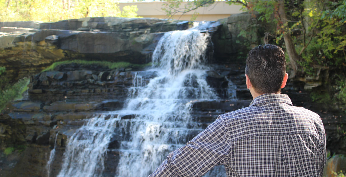 A waterfall at Cuyahoga Valley National Park in Ohio. Photo by Kay Panovec, United Methodist Communications.