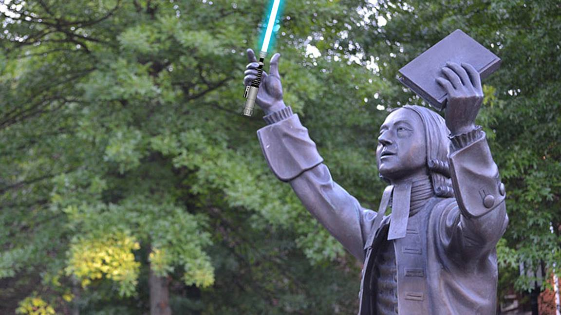 Statue of John Wesley located on the campus of Asbury Theological Seminary in Wilmore, Kentucky. Photo courtesy of Wikipedia. Jedi illustration by Christopher Fenoglio.